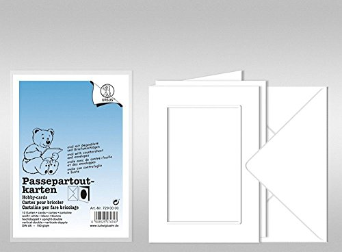 URSUS Passepartoutkarten A6 weiß Ausschnitt rechteckig, 10 Stk mit Kuvert