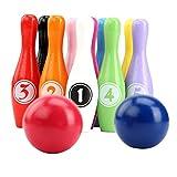 Perfeclan Juego de Bolos de Juguete 10 Pines de Madera Coloridos 2 Bolas de Desarrollo Educativo de Deportes de Interior al Aire Libre Juego para niños Juguetes