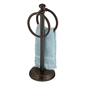 mDesign Decorative Metal Fingertip Towel Holder Stand for Bathroom Vanity Countertops to Display and Store Small Guest Towels or Washcloths - 2 Hanging Rings 14.25  High - Bronze