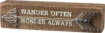 Primitives by Kathy String Art Box Sign 8  x 2  Wander Often