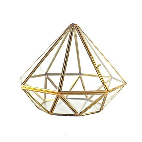 TSBB Handgefertigtes Gold Offenes Glas Geometrisches Terrarium Messing Diamant Sukkulenten Farn Moos P