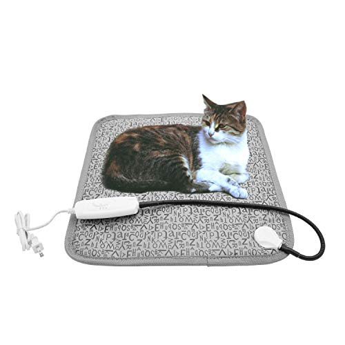 Nyicey Pet Heating Pad, Dog Cat Electric Heated Blanket Mat, Temperature Warming Cushion Bed with Anti Bite Tube