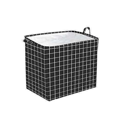 MICOOYO Extra Large Laundry Hamper 100L Collapsible Laundry Basket with Handle Waterproof Cotton Linen Foldable Bathroom Storage Basket for Toys Clothes Black