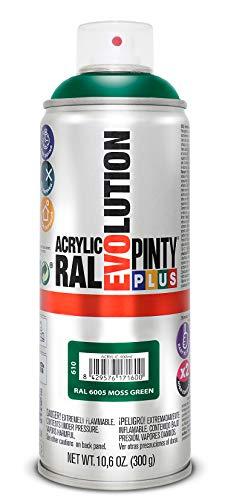 PINTYPLUS EVOLUTION 610 Pintura Spray Acrílica Brillo 520cc Moss Green, Verde Ral 6005, 300 g (Paquete de 1)