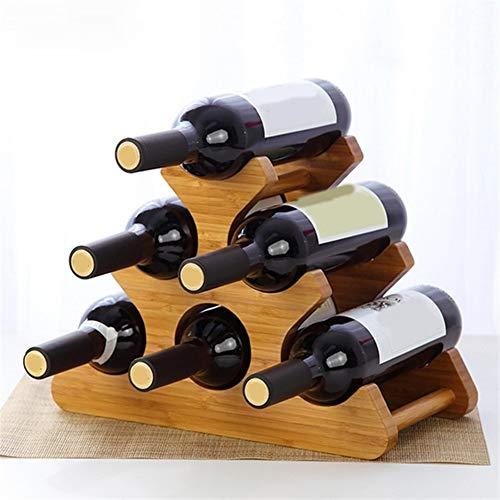 Vino 1 Pz European-Style tridimensionale Rack Bambù Verticale cremagliera del vino Wine Rack Rack Soggiorno Wine Rack (Color : Beige)