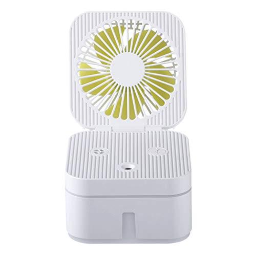 Casa exterior Cuadrado Pequeño USB Ventilador Espray de gran capacidad Hidratante Hidratante Dormitorio en la oficina Humidificador Ventilador de escritorio con luz nocturna LED pequeño ventilador