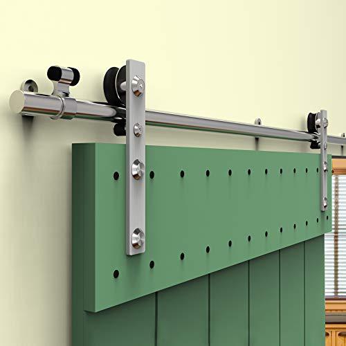 6.6FT/201cm Rostfreier Stahl Schiebetür Schiebetürsystem Schiebetürbeschlag Laufschiene Schiebetür, Sliding Barn Door Kit