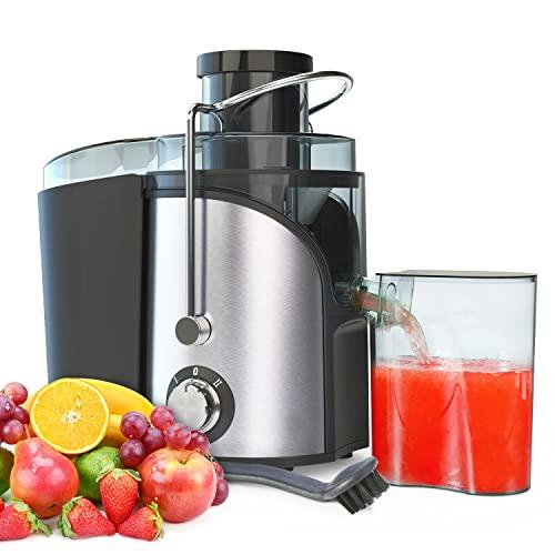 Licuadoras para Verduras y Frutas 400 W Licuadora con 75MM Boca Ancha, Exprimidor de Zumos y Extractor de Jugo Acero Inoxidable de Grado Alimenticio Llibre de BPA, 2 Velocidad con Función Aanti-goteo