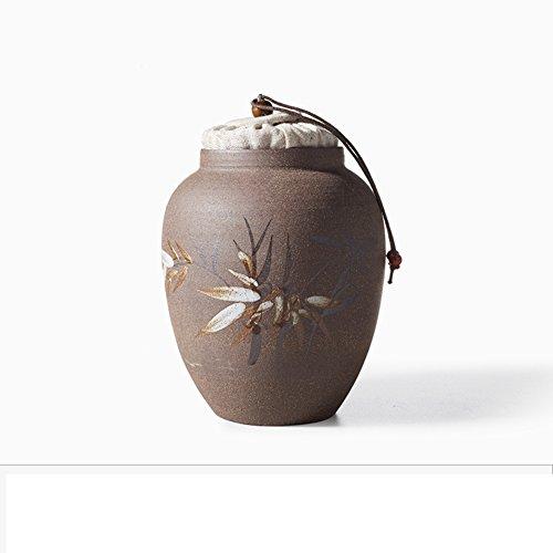 Vaso di porcellana,Canister de thé,Coffres de stockage de thé,Service à thé Pot de thé de poterie grossière Jarre de thé Entrepôt de petit thé-G