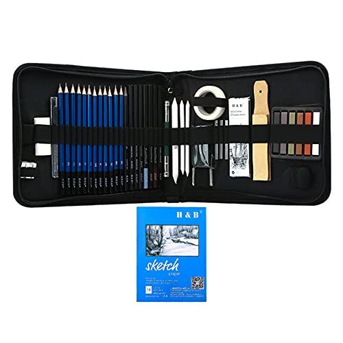 Montloxs 48 piezas de lápices de dibujo profesionales para dibujar bocetos,incluye bocetos,grafito,pastel,carbón,lápiz,sacapuntas,esponja,cinta adhesiva,extensor,cuaderno de bocetos