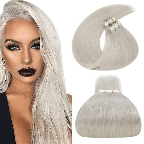 LaaVoo Tape in Hair Extensions #60 Platinum Blonde Real Human Hair Glue in Hair Extensions 30 Inch Natural Straight Long...