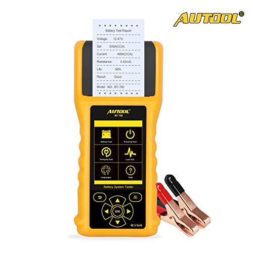AUTOOL BT760 Automotive Battery Tester Car Battery Analyzer for 12V/24V Cars Vehicles Trucks Charging System Diagnostic Tool with Printer
