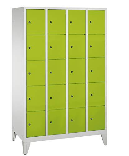 Compartimiento Armario/taquilla 4columnas/20compartimentos–1850mm x 1190mm x 500mm–Verde línea de taquilla Max