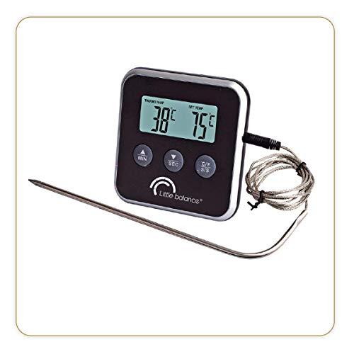LITTLE BALANCE 8093 Thermochef Duo Timer - Thermomètre de cuisine avec timer intégré - Cuisson parfaite grâce à son signal sonore - Boitier aimanté - Noir