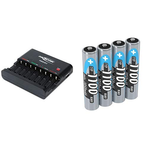 ANSMANN Batterieladegerät Powerline 8 für Akku Batterien + Micro AAA Akku 1,2V Typ 1100mAh - Akku Batterien AAA ideal für Phone & Kamera - Accu AAA vom Testsieger - 4 Stück