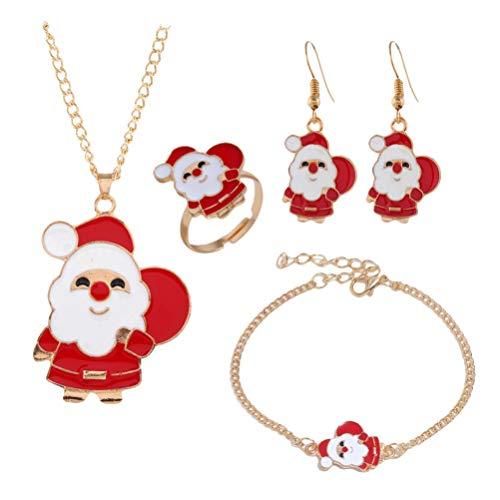 Amosfun Conjunto de Joyas de Navidad Collar de Santa Claus Pendientes Conjunto de Anillo de Pulsera para Mujeres decoración de joyería de Fiesta navideña (Santa)