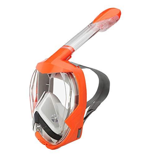 YUANP Máscara De Buceo Máscara De Snorkel Gafas De Natación Vista Panorámica Conjunto De Snorkel De Respiración Libre con Soporte De Cámara Desmontable Adultos Niños,Orange-L/XL