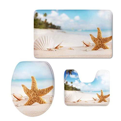 RSHSJCZZY Creative Home Creative Decor Bathroom Carpet Rug Non-Slip 3 Piece Sets Seashells Starfish Sand Print Bath Mat Set Color14