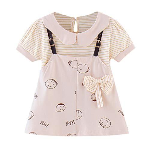 Kobay Infant Baby Mädchen Kurzarm Cartoon Gestreiften Print Prinzessin Hosenträger Kleid Kurzarm Puppe Kragen Bogen Gestreiften Cartoon Print Gefälschte Zweiteilige Gurt Kleid (3-24M)