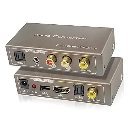 Tiancai Convertitore Audio Multifunzione 192 KHz, HDMI ARC o Toslink (Ottico) o Coassiale a Toslink (Ottico) + Stereo L/R + Jack 3,5 mm + Coassiale Emesso Contemporaneamente