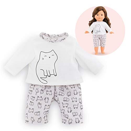 Corolle- Pyjama 2 pièces pour poupée Vêtement, 211380, Blanc à motif chat
