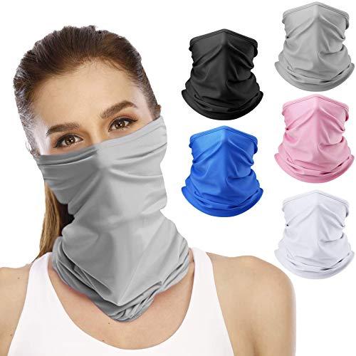 5 Pieces Neck Gaiters for Women/Men Reusable Face Cover Scarf Bandana (Style 1)