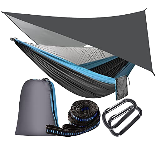 OTraki Camping Hammock with Mosquito Net and Rainfly Tarp Portable Double Hammock with Tree Straps 2 Person Use for Outdoor Travel Backpacking Hiking Yard Garden Picnic