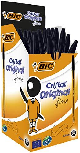 Bic Cristal Original Fine Penna a Punta Fine da 0.8 mm, Confezione da 50 Pezzi, Colore Nero