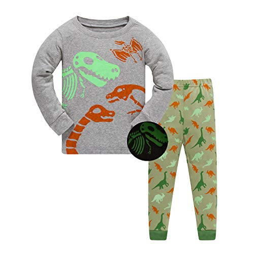 ZFBOZS Boys Pajamas Glow in The Dark Long Sleeve PJs for Kids , Cotton Clothes Set, Gray Glow Dinosaur Long, 5T(4-5Years)