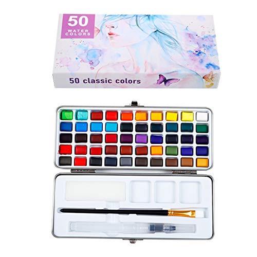 Kaliove Aquarell-Farbset 50 lebendige Farben in der Taschenbox mit 1 Pinselstift 1 Füllfederhalter 1 Schwamm für Schüler Kinder Anfänger,Weiß