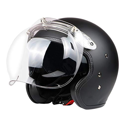Retro Helm Black Fiberglass Open Face 3/4 Motocross Helm Jet Helm Retro Helm Innenvisier Mattschwarz Bubble L