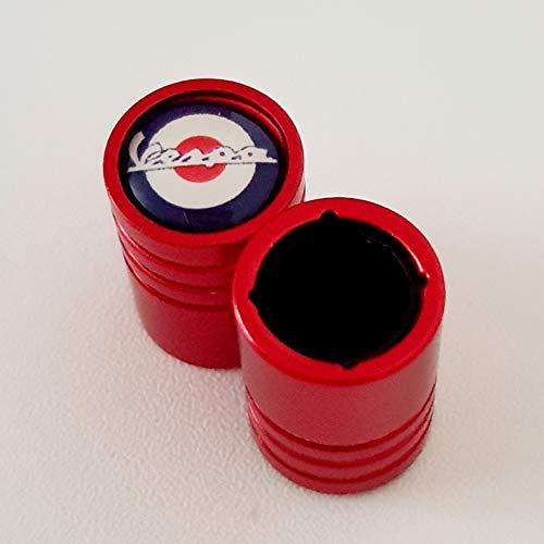 Vespa - Tapones para válvula de llanta de aleación roja para neumáticos (2)