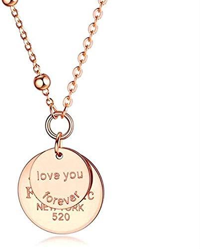 Yiffshunl Collar de diseño clásico, Collar con Colgante Redondo Doble para Mujer, niña, Color Oro Rosa, Acero Inoxidable, Collar de Amor para Siempre
