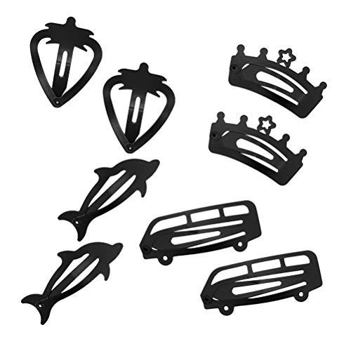 8pcs noir pinces à cheveux fraise voiture snap dolphin couronne clips métal snap pinces à cheveux pour enfants en bas âge
