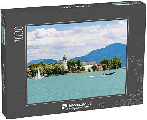 fotopuzzle.de Puzzle 1000 Teile Fraueninsel, Frauenchiemsee am Chiemsee mit Boot, Segelboot, Kirche, Kloster. Bayern, Bayern, Deutschland