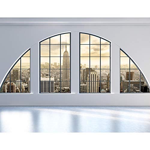 Fototapeten Fenster nach New York 352 x 250 cm Vlies Wand Tapete Wohnzimmer Schlafzimmer Büro Flur Dekoration Wandbilder XXL Moderne Wanddeko 100% MADE IN GERMANY Runa Tapeten 9171011a