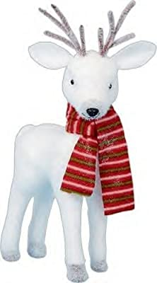 White Reindeer In Red Scarf Christmas Decoration 2017