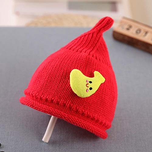 Aibccr Sombrero de bebé otoño e Invierno Nuevo Sombrero de Lana 0-3 años Sombrero de bebé Sombrero Puntiagudo Rojo