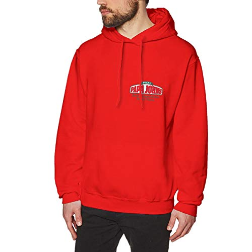 Best Price! Mens PAPA John's Logo Long Sleeve Hoodie Sweatshirt Red Sweater Clothes for Men Jacket R...