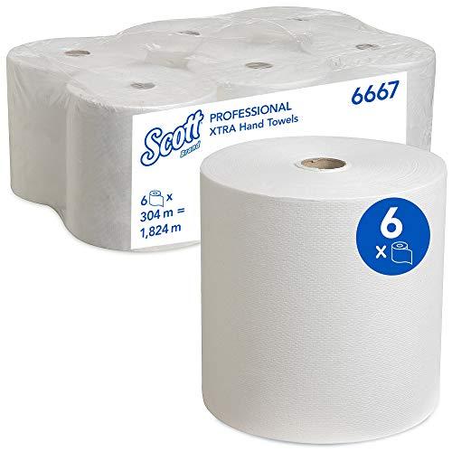 Scott Papierhandtuchrollen für Spender, Airflex*-Technologie, 1-lagig, 6 x 304 m, Weiß, 6667