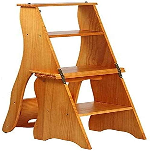 Suge Wooden Ladder Stool Folding 5-Step Ladder in Solid Wood Retro Stairs Step Stool Household Solid Wood Rotate Straight Ladder Iibrary ladders (Color : -, Size : -)