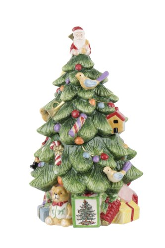 Spode Christmas Tree Sculpted Christmas Tree Shaped Covered Cookie Jar, 12-Inch