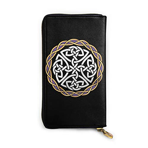 5husihai Irish Shield Warrior Celtic Cross Knot Leather Zipper Wallet Clutch, Can Accommodate Credit Cards, Cash, Documents, Etc. DIY Custom Wallet, Fashion Credit Card Case