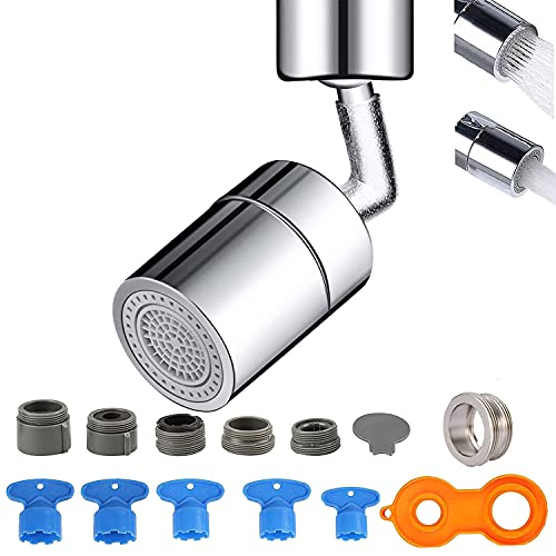 Aireador de grifo, 720 grados de filtro descalcificador antisalpicaduras de 2 modos ajustable para accesorios de grifo de baño y cocina, con 5 adaptadores