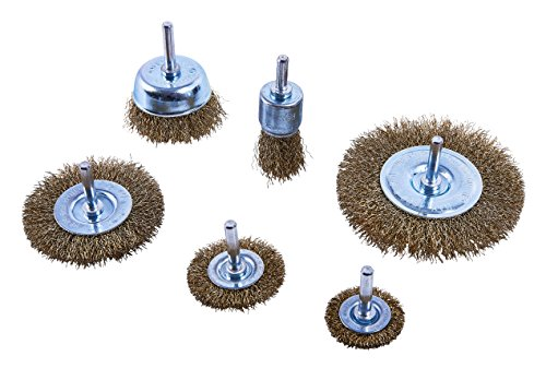 Amtech F3500 Wheel Set, Steel Wires for Drills, Metal Brushes for Cleaning Rust and Removing Paint, 6 Pieces