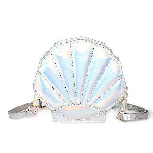 Hologram Purse Seashell Pearl Leather Crossboday Purse Sholder Bag for Women (Silver)