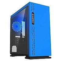 ゲーミングケース、ミッドタワーM-ATX/ITX PCゲームコンピュータケース、完全に透明なサイドパネルは、水冷却、3つのファン体位をサポート (Color : Blue)