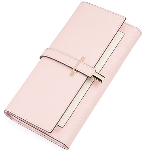 Leather Wallet for Women Slim Clutch Purse Long Designer Trifold Ladies Credit Card Holder Organizer Light Pale Pink