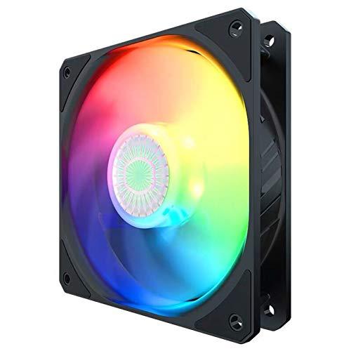 Ventilador de Caja RGB 140 mm Ventilador de enfriamiento del chasis del gabinete 12V Ventilador de refrigeración de CPU de 4 Pines PWM Ventilador de Caja ARGB para computadora de Escritorio(Negro)