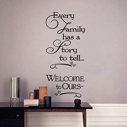 Cada Familia Tiene Una Historia Que Contar Decoración Del Hogar Pegatina De Pared Y Refranes Calcomanías De Vinilo Para Pared Extraíbles 59X87 Cm